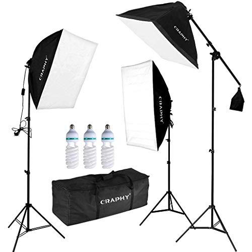 CRAPHY Softbox Set, Softbox Dauerlicht mit 3X Softboxen und 3X Fotolampen(135W), Studioleuchte Set mit Auslegerarm und Tragetasche, Fotostudio Set für...