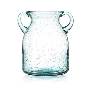 Silk Flower Arrangements QUECAOCF Colorful Flower Vase Glass with Handle, Handmade Air Bubbles Glass Vase for Centerpiece Home Decorative (Blue, Purple, Grey, Green)