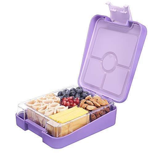 Navaris Bento Box Lunch Box Brotdose Vesperbox - auslaufsicher mit variablen Fächern - herausnehmbare Innenschale - für Jungs und Mädchen - violett