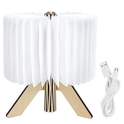 Pbzydu Luz de Noche Plegable de Madera, luz en Forma de Libro, Impermeable Decorativa Blanca Leche USB Recargable Elegante jardín ecológico para habitación terraza balcón