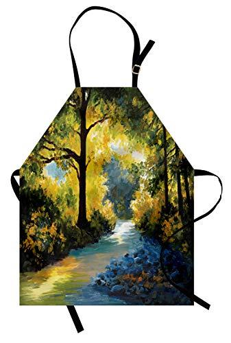 ABAKUHAUS Grön Förkläde, Natur lövängar, Unisex haklapp med justerbar hals för matlagning av trädgårdsarbete, Avocado Grön Fern Grön