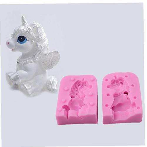 3D Unicornio Unicornio Molde de la Vela del Molde del silicón de la Pasta de azúcar Goma de la Goma Hecha a Mano del jabón de baño Bomba Loción Bar Yeso Arcilla del polímero