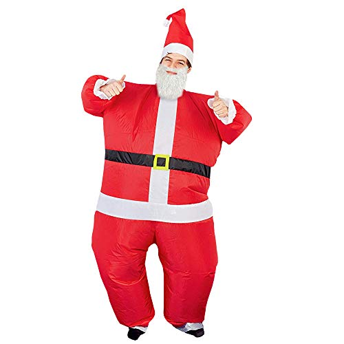 THE TWIDDLERS Costume Gonfiabile di Babbo Natale (per Adulti) - Vestito Uomo Perfetto per Feste di Natale - Accessorio Divertente per Natale