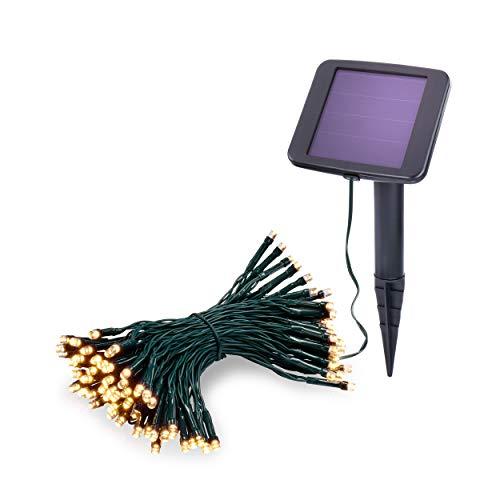 Solar Premium Lichterkette 10m für Sommer und Winter - 100 warmweiße LEDs, Lichtfarbe 3000K, 2 Betriebsmodi - extragroßes Qualitäts-Solarmodul - Party Weihnachten Solarleuchte Garten esotec 102170