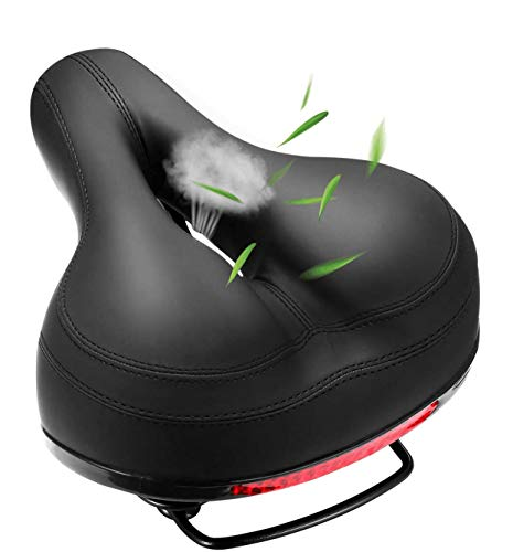 Comfortable Bike Seat Bicycle Saddle Thickening of The Memory Foam Waterproof Replacement Leather Bike Saddle on Your Mountain Bike for Women and Men with Big Bottoms