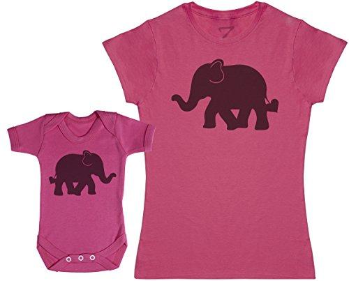 Zarlivia Clothing Baby and Mummy Elephants - Ensemble Mère Bébé Cadeau - Femme T Shirt & bébé Bodys - Rose - XXL & 0-3 Mois