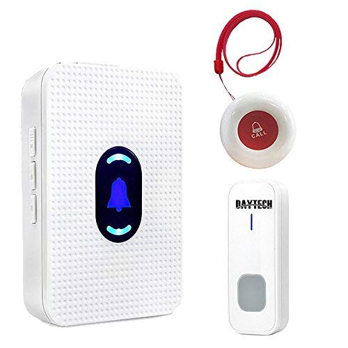 Wireless Caregiver Pager System Call Button Personal Alert Pager For Home Attendant Patient Nurses Seniors and Disabilities 1 Receiver & 2 Waterproof Transmitters