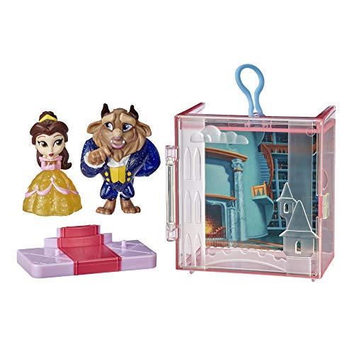 Disney Princess Perfect Pairs Belle, Fun Beauty and The Beast Unboxing Toy with 2 Dolls, Display Case and Stand, for Kids 3 Years and Up