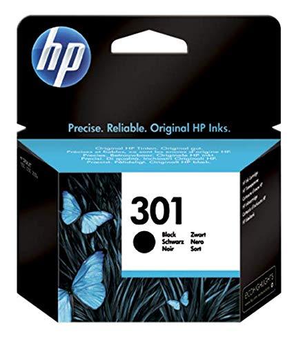 HP 301 CH561EE Cartuccia Originale, 190 Pagine, per HP DeskJet Serie 1000, 1050 1500, 2000, 2050, 2500, 3000 e 3050, HP Envy Serie 4500 e 5500 e HP Officejet Serie 2600 e 4600, Nero