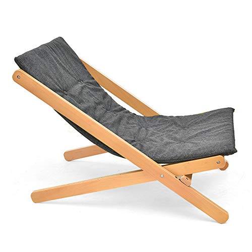 LEJZH Opvouwbare hardhout Verstelbaretraditionele Beach Deck Chair,Seaside Lounger Houten Ligstoel Ligstoel Buiten Tuin Patio