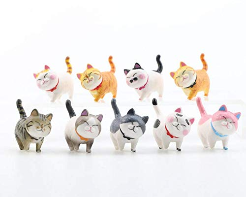 TA BEST 9 Pack Realistic Cat Figurines, Educational Kitty Figures Toy Set, Animal Toys Cake Topper Christmas Birthday Gift for Kids Boys Girls Children Cat Lover(Styel 2)
