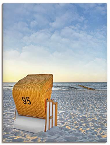 Artland Leinwandbilder Wandbild Bild auf Leinwand 60x80 cm Strand Meer Strandkorb Küste Ostsee Maritim T9IJ