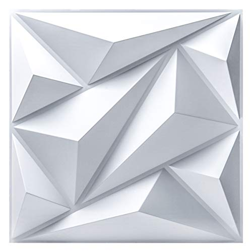 Art3dwallpanels PVC 3D Wall Panel Diamond for Interior Wall Décor in White, Wall Decor PVC Panel, 3D Textured Wall Panels, Pack of 12 Tiles