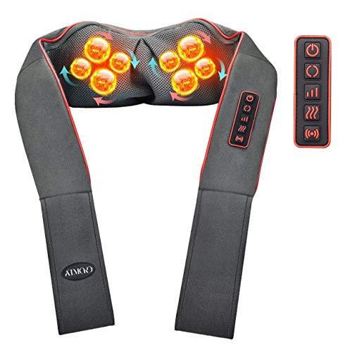 ATMOKO Massaggiatore Cervicale da Collo e Spalle [5 Pulsanti Regolabili] 3D Massaggiatore Elettrico Shiatsu, Unica Modalità di Vibrazione, con 3 Intensità Regolabili per Uso Domestico in Ufficio