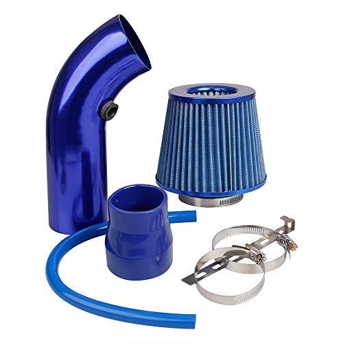 Auto Sportluftfilter: Pindex 76mm Universal Air Cooling Air Inlet Filter Kit Kohlefaser Lufteinlasssystem mit Schlauch (Blau)