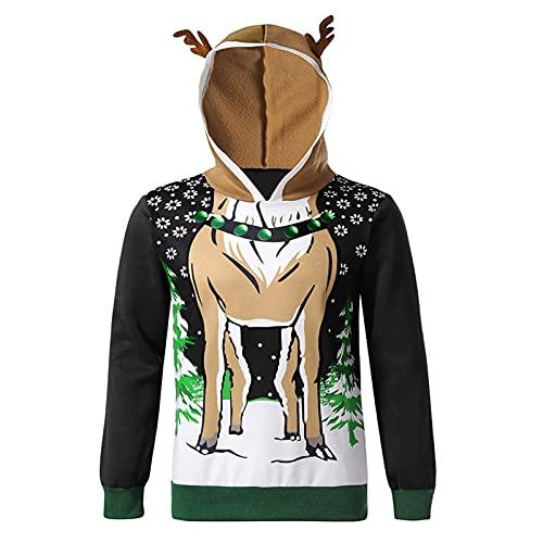 Sudadera con capucha para hombre con gorro de Navidad, de manga larga, para otoño e invierno, ideal como regalo de Navidad, Negro , L
