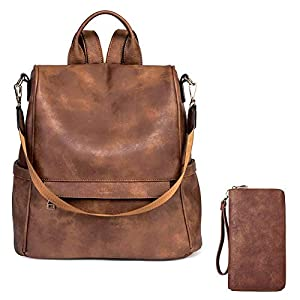 CLUCI Women Backpack Purse Fashion Leather Large Designer Travel Bag Ladies Shoulder Bags Women Wallet Large Leather Designer Zip Around Card Holder Organizer Ladies Travel Clutch Wristlet Brown 13