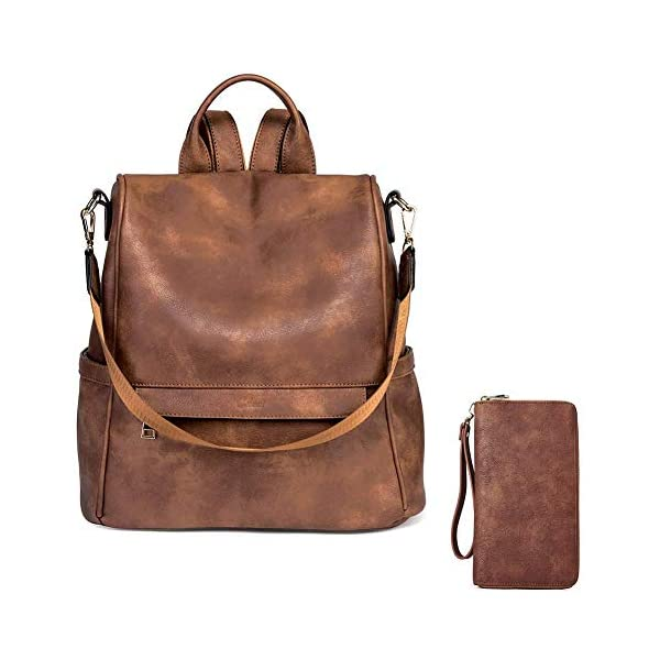 CLUCI Women Backpack Purse Fashion Leather Large Designer Travel Bag Ladies Shoulder Bags Women Wallet Large Leather Designer Zip Around Card Holder Organizer Ladies Travel Clutch Wristlet Brown 1
