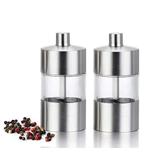 Mini molinillo de sal y pimienta de 85 mm de acero inoxidable ajustable, juego de molinillo de sal y pimienta manual con núcleo de cerámica (2 piezas)