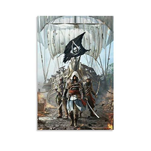 Poster sur toile Assassin's Creed Black Flag 2 - Art mural - Impression moderne - Décoration de chambre de famille - 30 x 45 cm