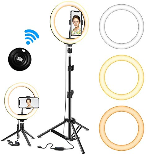 ANOSS 10 Selfie Ring Light for Live Stream//Makeup//TikTok//YouTube Video Dimmable Ringlight with Extendable Tripod Stand and Phone Holder LED Circle Lights