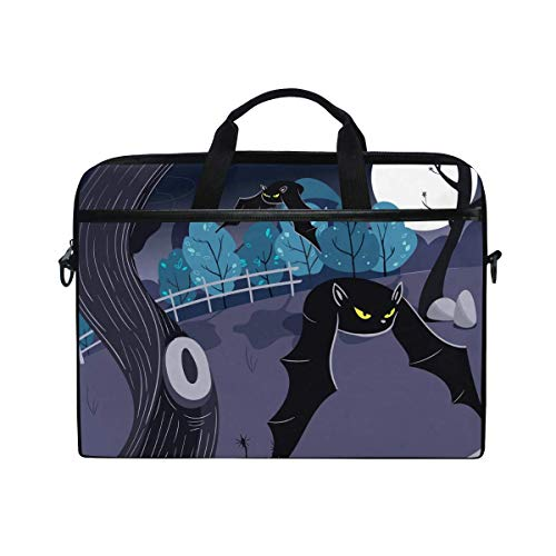Laptop Sleeve Case,Laptop Bag,Halloween Night Bat Moon Tree Water Briefcase Messenger Notebook Computer Bag with Shoulder Strap Handle,28.5×38 CM/14 Inch