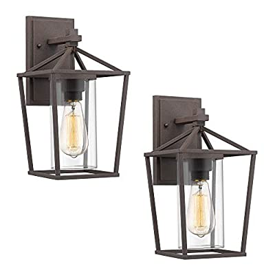 Emliviar Outdoor Wall Lighting Fixtures 2 Pack, Rustic Finish with Clear Glass, 20065B2-2PK