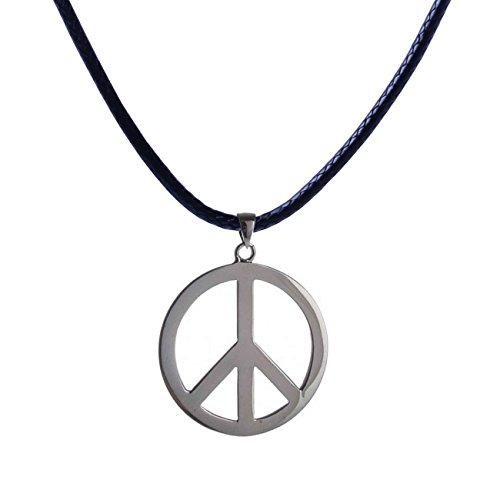 Leder Kette mit Peace Anhänger von Beyond Dreams - Friedenszeichen - schwarze Kette silberfarbener Anhänger - Halskette - Schmuck - Accessoires