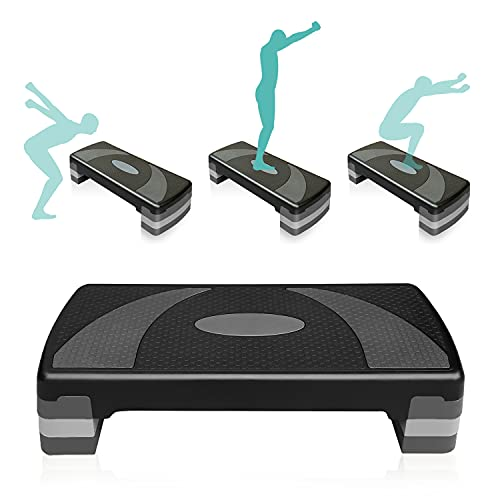 """31'' Adjustable Aerobic Workout Step Platform in Fitness & Exercise Trainer Stepper with 4 Risers 4""""-6""""-8"""" Non-Slip Surface Home Gym"""