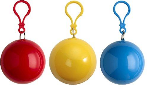 sinsey 3er Set Poncho Notfall-Poncho Regencape Regenponcho (rot - gelb - blau)