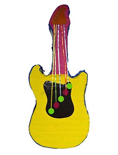 Pinata Set Gitarre mit Stick - Tolle Dekoration für Kindergeburtstag, Hochzeit oder Mottoparty