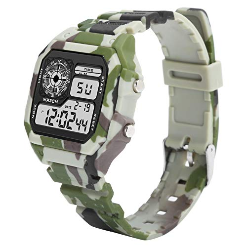Mxzzand Reloj electrónico Masculino Reloj Impermeable para Hombres Reloj Digital electrónico Luminoso Digital con Uso cómodo, para Reloj Diario(Camouflage Coffee)