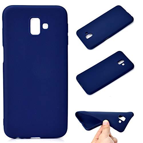 LeviDo Coque Compatible pour Samsung Galaxy J6+/J6 Plus 2018 Étui Silicone Souple Bumper Antichoc TPU Gel Cover Bonbons Couleurs Ultra Fine Mince Caoutchouc Etui, Bleu Foncé