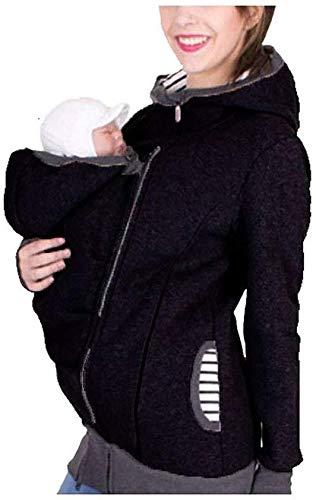Hcxbb-19 Kangaroo Mother Umstands Hoodies-Mantel - Kangaroo Hoodies for Frauen Mutterschaft Stillen Fleecejacke Zipper Up Baby Carriers Kapuzen-Sweatshirt (Farbe : Black, Size : M)