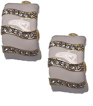 Sidnee Gold tone White Crystal Clip On Earrings