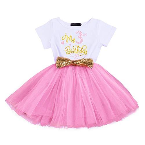 Vestido de manga corta para bebé recién nacido, de algodón, con tutú de princesa, vestido de fiesta para bebé, Rosa 2(3 años), 3 Años