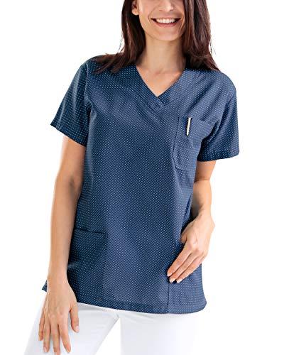 CLINIC DRESS Schlupfkasack Damen-Schlupfkasack 1/2 Arm All-Over-Print 60° Navy/Petrolblau 44