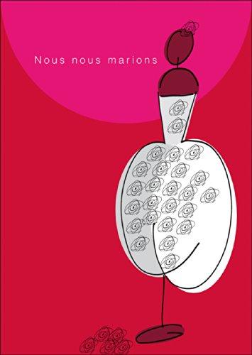 Schöne französische Hochzeits Anzeigenkarte: Nous nous marions! mit Brautkleid • auch zum direkt Versenden mit ihrem persönlichen Text als Einleger. • schöne Grusskarte mit Umschlag für beste Freunde und Lieblingsmenschen