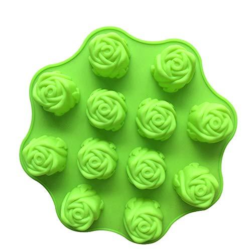 Dawwoti 12 bloemen roos siliconen taartvorm taartjes moulds Sugar chocolade-cake-bakplaten - willekeurige kleur