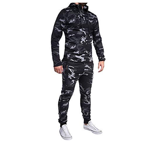 Felpa con Cappuccio Pantaloni Tuta Sportiva Tuta da Uomo Moda Autunno Inverno Casual Camouflage (XL,1Nero)