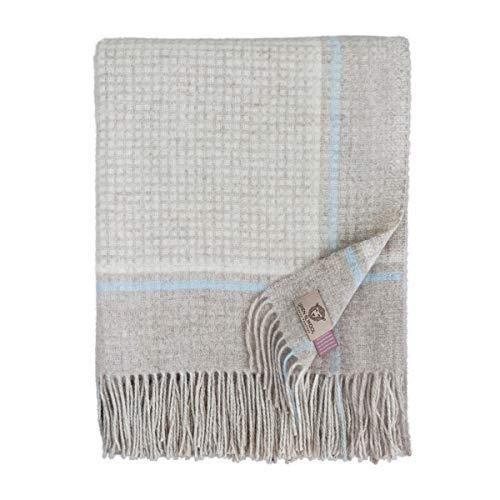 Linen & Cotton Weiche Warme Decke Wolldecke Merino Wohndecke Kuscheldecke Kariert Mosaic - 100% Weicher Merinowolle, Blau/Beige/Natur (140 x 200cm), Sofadecke/Tagesdecke/Überwurf/Schurwolle