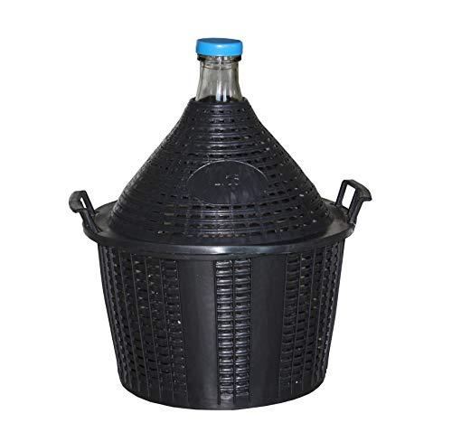 KADAX Glasballon, Gärballon mit Kunststoffkorb, Gummistopfen, schmale Öffnung, Weinballon, Flasche, Glasflasche, Gallone, Gärbehälter, Glasgärballon, Gäreimer (25L)