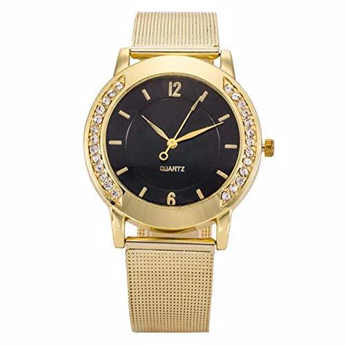 JZDH Relojes para Mujer Las Mujeres Miran los brazaletes de Cuarzo dial de Acero Inoxidable Reloj de Pulsera Casual Reloj de señoras. Relojes Decorativos Casuales para Niñas Damas