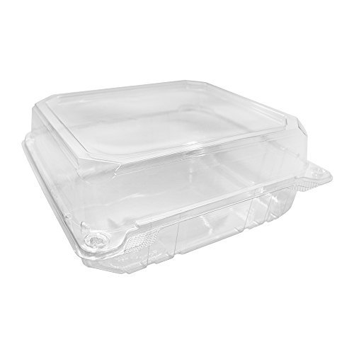 "8"" x 8"" Clear Plastic Clamshell Food Containers with Snap-On Corners (125 Count) Durable Hinged Containers - Stackable Crack Resistant Food Storage"
