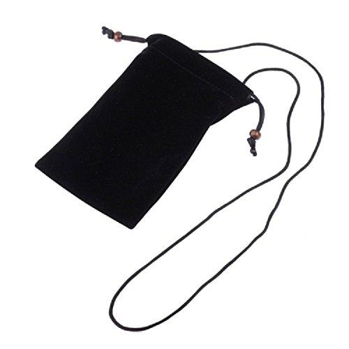 DFVmobile - Etui Tasche aus Stoff KunstwildlederWeichem Tuch mit Kette & Schleife-Verschluß für WIKO LUBI 3 - Schwarz