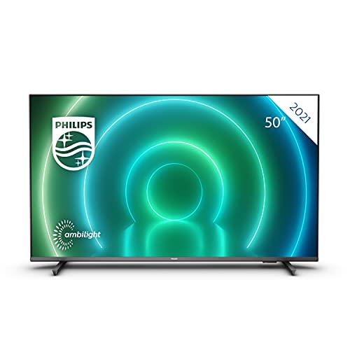 Philips 50PUS7906/12 50-Inch LED Android TV, 4K Smart TV with Ambilight, Vibrant HDR Picture, Cinematic Dolby Vision and Atmos Sound, Compatible with Google Assistance and Alexa, Black with Slim Feet