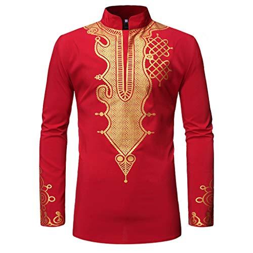 Lenfesh Vintage Men African Ethnic Style Impreso Stand Collar Camiseta de Manga Larga Top Blusa Slim Fit Algodón Casual Blusas Camisas