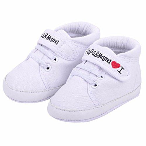 Sannysis Baby-Säuglings-weiche Sohle Segeltuch -Turnschuh-Kleinkind -Schuhe (0~6Monat, Weiß)