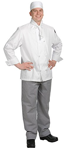Chef Revival J049 24/7 Poly Cotton Blend Long Sleeve Unisex Cool Crew Jacket with Clear Pearl Bottons, 3X-Large, White