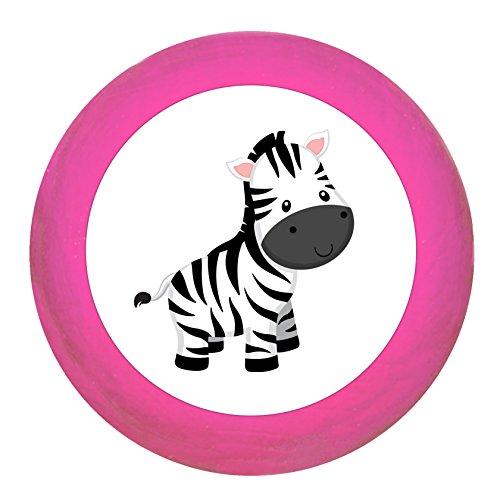 """Schrankgriff""""Zebra"""" pink Holz Buche Kinder Kinderzimmer 1 Stück wilde Tiere Zootiere Dschungeltiere Traum Kind"""